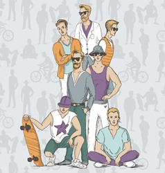 Boys people sketch vector