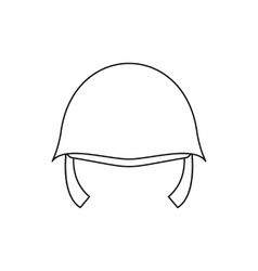 Military helmet icon in outline style vector