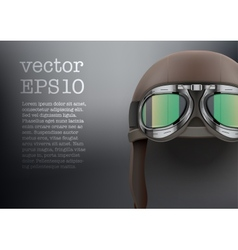 Background of Retro aviator pilot helmet with vector image vector image