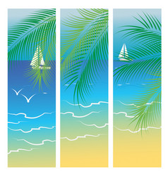 banners with sea and palm trees vector image