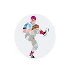Baseball pitcher outfielder throw leg up low vector