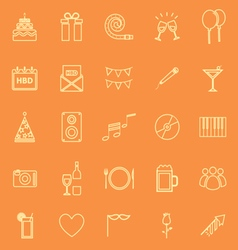 Birthday line icons on orange backgound vector