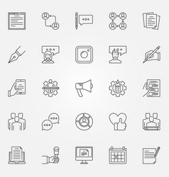 Blogging icons set vector