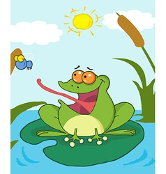 Cartoon frog on lily pad vector