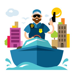coast guard flat style colorful cartoon vector image vector image