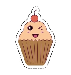 delicious cupcake kawaii style vector image