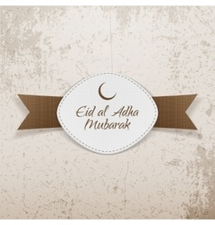 Eid al-adha mubarak emblem with ribbon vector