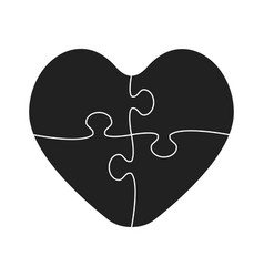 Four black piece jigsaw puzzle heart love vector