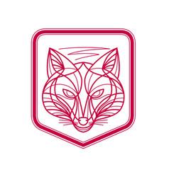 Fox head crest monoline vector