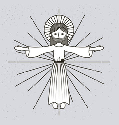 Hand drawn ascension jesus christ image vector
