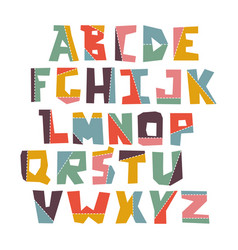 Hand lubberly cut colorful alphabet set vector