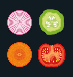 healthy food vegan icons vector image