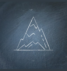 Ice mountain peak icon on chalkboard vector