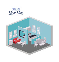 isometric floor plan of living room and dining vector image