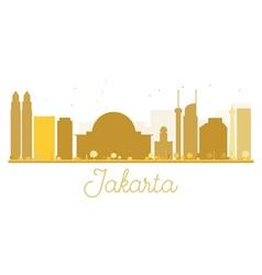 Jakarta city skyline golden silhouette vector