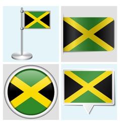 Jamaica flag - sticker button label flagstaff vector image vector image