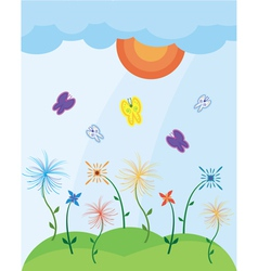 Landscape with butterflies vector