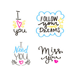 Lettering set of quotes about love sweet cute vector