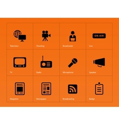 Media icons on orange background vector