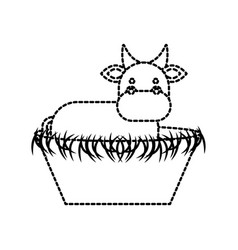 Nativity cow in the wooden cradle manger vector