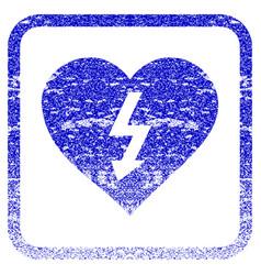 Power love heart framed textured icon vector