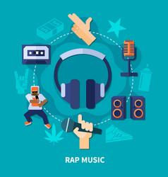 Rap music round composition vector