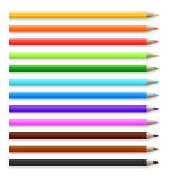 Realistic 3d wooden colored pencils isolated on vector
