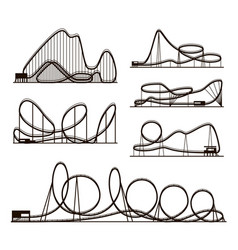 Rollercoaster black silhouettes vector