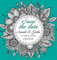 Save the date card with hand drawn doodle fancy vector