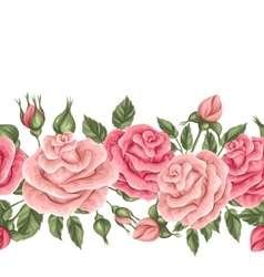 Seamless border with vintage roses Decorative vector image vector image