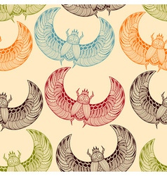 Seamless pattern with scarab beetles vector