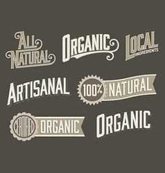 Set of 6 Organic Natural Food Labels with vintage vector image