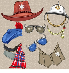 set of military and sheriff accessories vector image