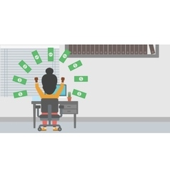 Successful business woman under money rain vector