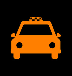 Taxi sign orange icon on black vector