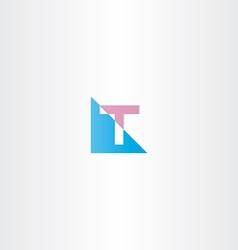 volet blue letter t logo sign vector image