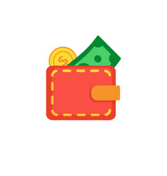 wallet with coin and dollar vector image