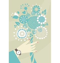 Woman hand and flowers vector image vector image