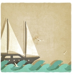 yacht on waves old background vector image