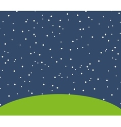 Night starry landscape icon vector