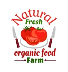 Tomato vegetable organic farm food emblem vector