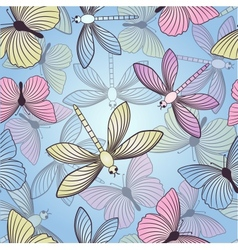 Seamless background with butterflies and vector