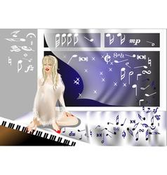 girl at the piano vector image