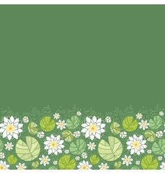 Water lillies horizontal seamless pattern vector