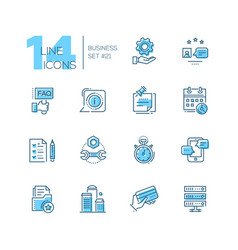 business - coloured modern single line icons set vector image