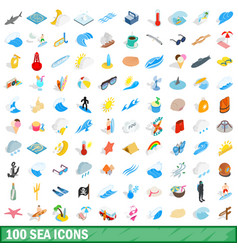 100 sea icons set isometric 3d style vector