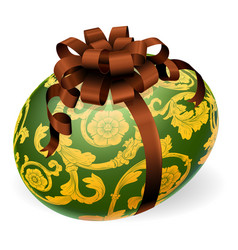 luxury ornate easter egg with bow vector image