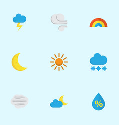 Meteorology flat icons set collection of storm vector