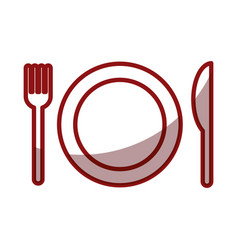 Dish with fork and knife isolated icon vector