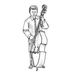 Young man playing double bass vector